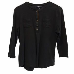 Chaps black half button front long sleeve large
